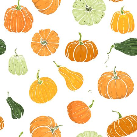 Seamless pattern with hand drawn pumpkin in cartoon style. Cute autumn pattern textile. design for greeting card and invitation of seasonal fall holidays, halloween, thsanksgiving, harvest. Autumn. Stock Illustratie