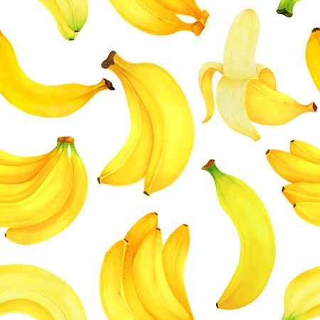 seamless pattern Hand drawn markers painting fruit bananas on white background. design for holiday greeting card and invitation of seasonal summer holidays, fruit fresh juice and bananas dessert. Foto de archivo - 134085553