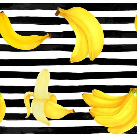 seamless pattern markers painting bananas on black and white watercolor stripes background. design for holiday greeting card and invitation of summer holidays, fruit fresh juice and bananas dessert. Foto de archivo - 135463964