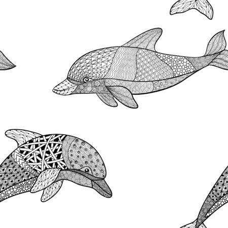 hermoso patrón transparente de delfín blanco y negro monocromo con elemento decorativo florecer. Ilustración de vector dibujado a mano aislado sobre fondo. Boceto vintage para diseño de tatuajes o mehandi. Ilustración de vector