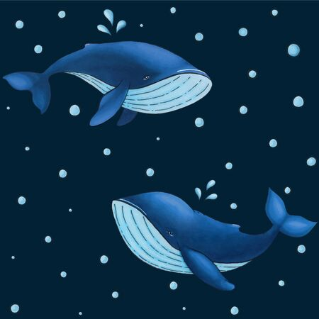 Vector seamless pattern with cute cartoon blue whale on dark background with water drops.