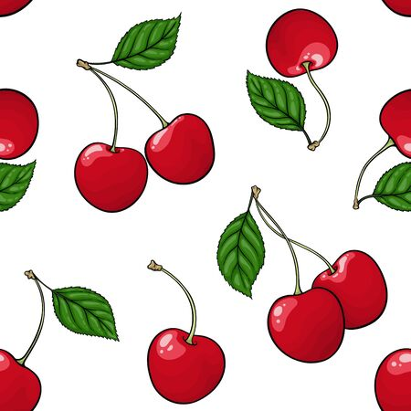 seamless pattern red cherry with black contour on white background, symbol of summer. design holiday greeting card and invitation of seasonal summer holidays, beach parties, tourism and travel.