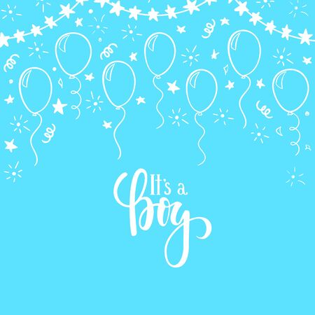 doodle gold balloon. Hand drawn calligraphy it s a boy lettering. design holiday greeting card and invitation of wedding, Happy mother day, birthday, Valentine s day and baby shower holidays