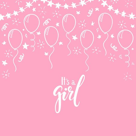 doodle gold balloon. Hand drawn calligraphy it s a girl lettering. design holiday greeting card and invitation of wedding, Happy mother day, birthday, Valentine s day and baby shower holidays