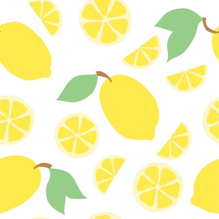 Beautiful seamless doodle pattern with cute yellow lemons and slice silhouette. Hand drawn trendy background. design background greeting cards, invitations, fabric and textile Vektoros illusztráció