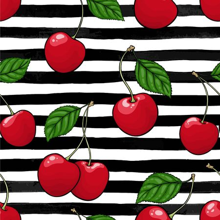 seamless pattern red cherry with leaf on black and white watercolor stripes. design holiday greeting card and invitation of seasonal summer holidays, beach parties, tourism and travel.