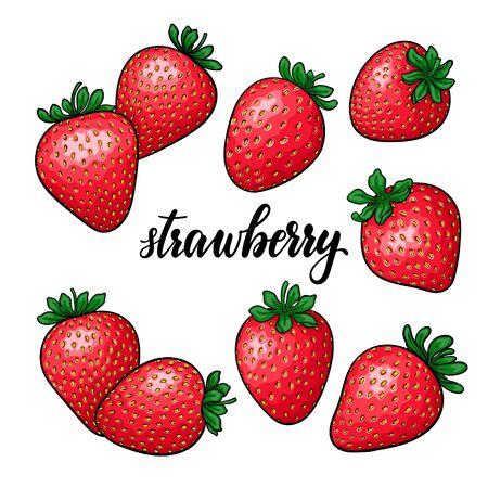 Satz schöne rote Erdbeere der Karikatur, Texterdbeere beschriftend. Symbol des Sommers. Design für Urlaubsgrußkarte und Einladung zu saisonalen Sommerferien, Strandpartys, Tourismus und Reisen Vektorgrafik