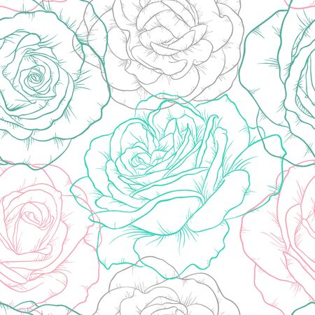 Beautiful seamless pattern with outline roses. Hand drawn contour lines. design greeting card and invitation of the wedding, birthday, Valentine s Day, mother s day, holiday.