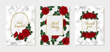 set of Luxury Wedding invitation card with gold geometric polygonal lines, marbling texture, red roses. design greeting card and invitation of the wedding, birthday, Valentine Day, mother day, holiday Ilustrace