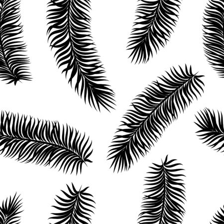Black and white tropical leaves seamless pattern. design for holiday greeting card and invitation of seasonal summer holidays, summer beach parties, tourism and travel Vettoriali