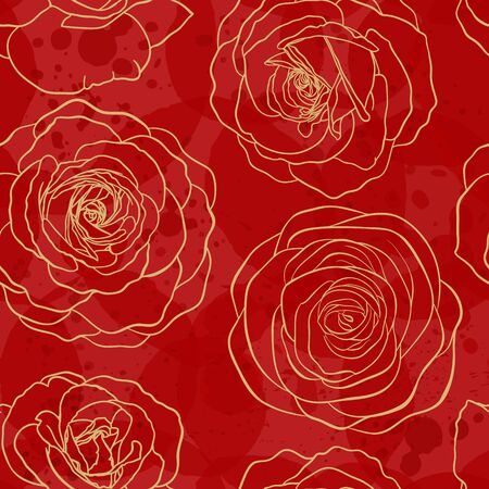 Seamless pattern watercolor red textured with golden outline roses. Hand drawn contour lines. design greeting card and invitation of the wedding, birthday, Valentine s Day, mother s day, holiday. Illustration