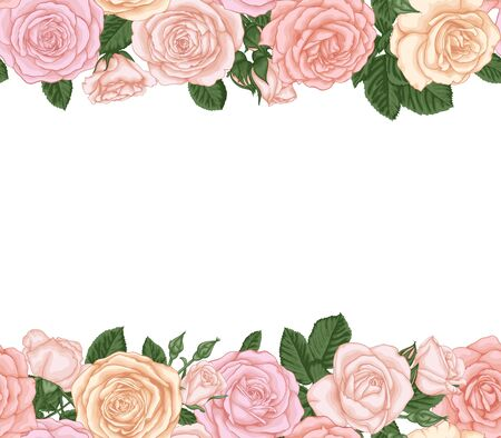 Vector horizontal seamless background with pink roses, buds and leaves. design for greeting card and invitation of the wedding, birthday, Valentine s Day, mother s day and other holiday. Illustration