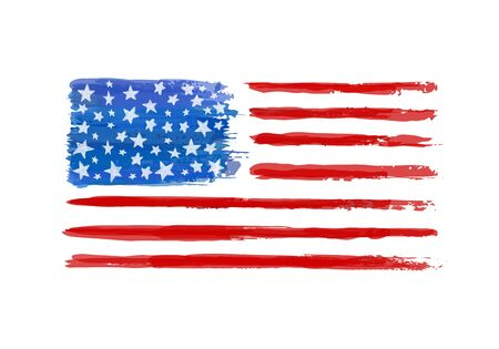 Watercolor American Flag. Vector illustration isolated on white background. Design element greeting card and invitation of 4th of July, Independence day, Memorial Day, Presidents Day, Veterans Day.