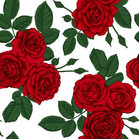 beautiful vintage seamless pattern with bouquets of roses and leaves design greeting card and invitation of the wedding, birthday, Valentine's Day, mother's day and other holiday.