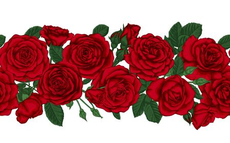 Vector horizontal seamless background with red roses, buds and leaves. design element for greeting card and invitation of the wedding, birthday, Valentine s Day, mother s day and other holiday.