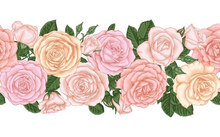 Vector horizontal seamless background with pink roses, buds and leaves. design element for greeting card and invitation of the wedding, birthday, Valentine s Day, mother s day and other holiday.