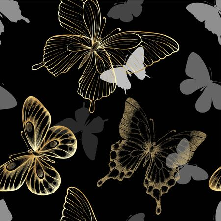 Seamless pattern with decorative butterflies golden outline. design greeting card and invitation of wedding, birthday, Valentine s Day, mother s day, spring, summer holidays, fabric, textile.