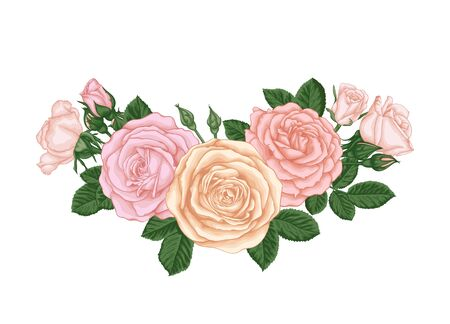 beautiful bouquet with pastel pink roses buds and leaves. Floral arrangement. design greeting card and invitation of the wedding, birthday, Valentine's Day, mother's day and other holiday.