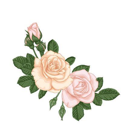 beau bouquet avec des bourgeons et des feuilles de roses rose pastel. Composition florale. concevez la carte de voeux et l'invitation du mariage, de l'anniversaire, de la Saint-Valentin, de la fête des mères et d'autres vacances. Vecteurs