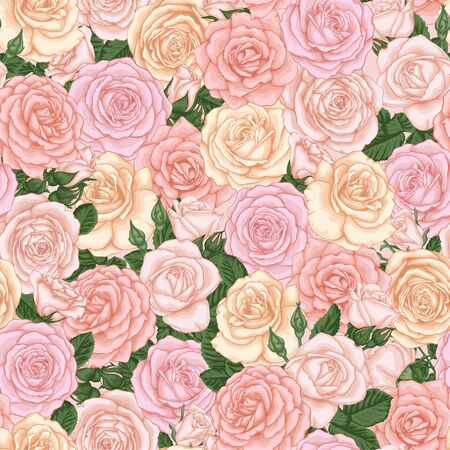 seamless background with pastel pink, yellow, white roses, buds and leaves. design element for greeting card and invitation of the wedding, birthday, Valentine s Day, mother s day and other holiday Иллюстрация