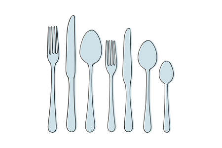 set of Cutlery knife, fork, spoon vector doodle icons. Isolated on white background. Design for menu restaurant and cafe. Kitchen cutlery. Vektorové ilustrace