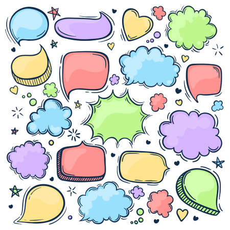 Set of hand drawn doodle colored Speech bubbles. Pastel colors. illustration.