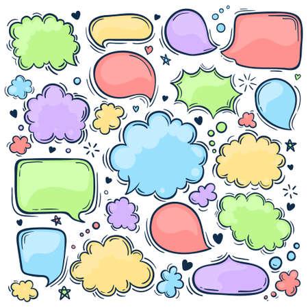 Set of hand drawn doodle colored Speech bubbles. Pastel colors. Vector illustration.