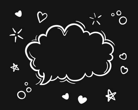 doodle black and white hand drawn sketch Speech bubbles.  line art illustration, Illustration