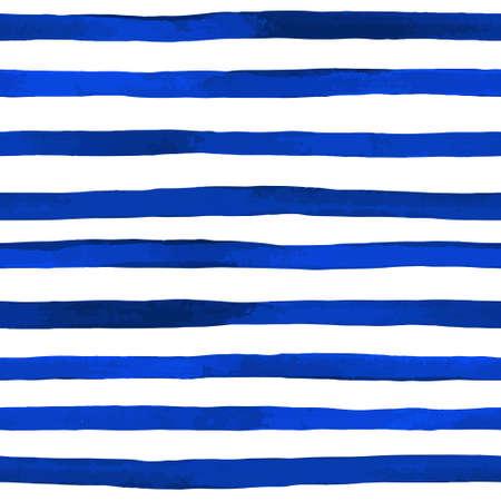 Beautiful seamless pattern with horizontal blue watercolor stripes. hand painted brush strokes, striped background. Vector illustration. Vektoros illusztráció