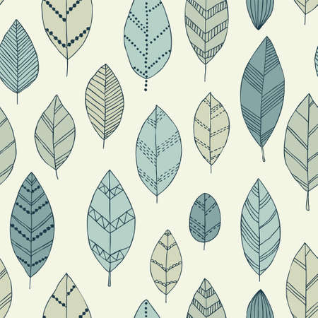 Beautiful seamless doodle pattern with vintage leaves sketch. design background greeting cards and invitations to wedding, birthday, mother s day and other seasonal autumn, spring, summer holidays.