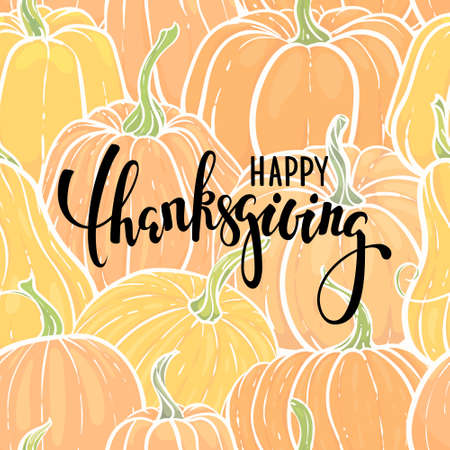 Happy thanksgiving Hand drawn calligraphy brush pen lettering. background of hand drawn pumpkin. design for greeting card and invitation of seasonal american and canadian autumn holiday thanksgiving. 向量圖像