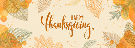 happy thanksgiving brush pen lettering. watercolor splash and linear leaves background. design holiday greeting card and invitation of seasonal american and canadian autumn holiday. 向量圖像