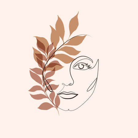 Abstract minimalistic linear sketch. Female face. Vector illustration hand draw with plant leaves. One line drawing face. Modern minimalism art. Abstract woman portrait minimalist style. Ilustração Vetorial