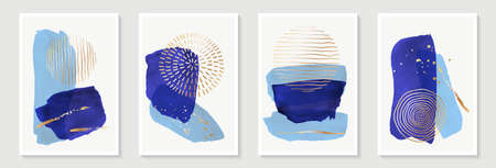 Creative minimalist hand painted Abstract art background with blue watercolor stain and Hand Drawn doodle golden color Scribble Circle. Design for wall decoration, postcard, poster or brochure