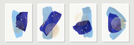 Creative minimalist hand painted Abstract art background with blue watercolor stain and Hand Drawn doodle golden color Scribble Circle. Design for wall decoration, postcard, poster or brochure Vectores