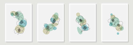 Set of creative minimalist hand painted illustrations floral outline and pastel simple shape for wall decoration, postcard or brochure cover design,