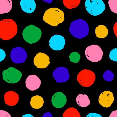 seamless pattern ink circles shapes. hand painted brush strokes. Black Background dots polka design for greeting cards and invitations of the wedding, birthday, Valentine's Day, fabric, textile. Vectores