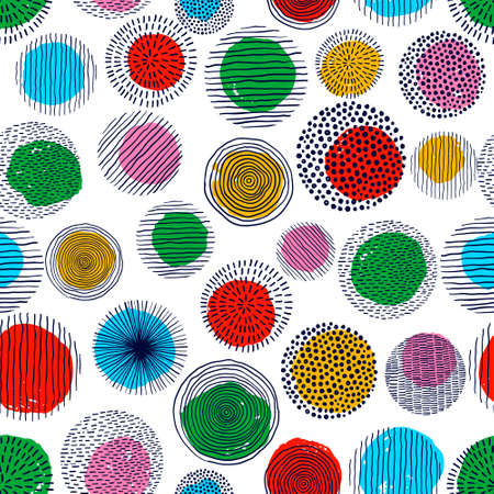 Abstract geometric seamless pattern with doodle circles and geometric shapes. Trendy hand drawn textures. Modern abstract design for paper, cover, fabric, interior decor.