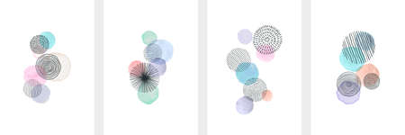 Creative minimalist hand painted Abstract art background with watercolor stain and Hand Drawn doodle Scribble Circle. Design for wall decoration, postcard, poster or brochure.
