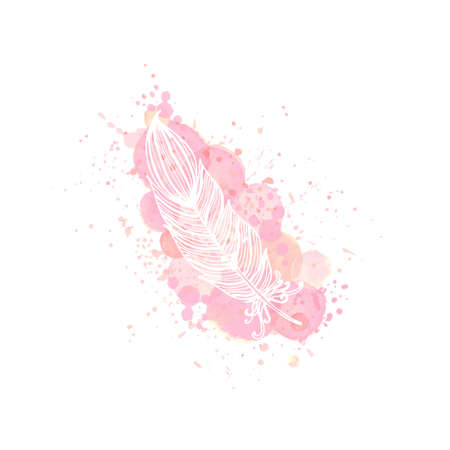outline feather on watercolor pink effect background. Nude rose brush strokes, drop and splash with doodle feather contour. Design for invitation, card, sale, fashion, wedding. Vector illustration.