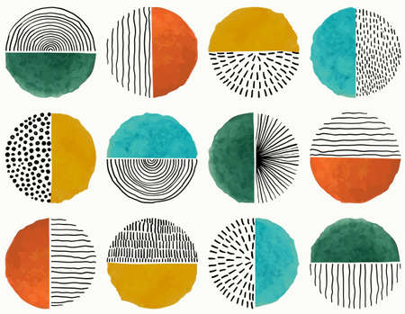 Seamless pattern Of Doodle Creative minimalist Abstract art circle shape and Hand Drawn doodle Scribble Circle. Design elements or background for wall decoration, postcard, poster or brochure.