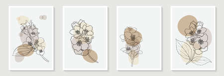 Set of creative minimalist hand draw illustrations floral outline and pastel simple shape for home wall decoration, postcard or brochure cover design,