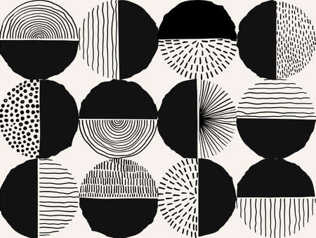 Seamless pattern black and whie Doodle Creative minimalist Abstract art shape and Hand Drawn doodle Scribble Circle. Design elements or background for wall decoration, postcard, poster or brochure.