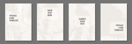 set of card template with textured paint brush stroke. Design for background, postcard, poster or brochure. Vectores