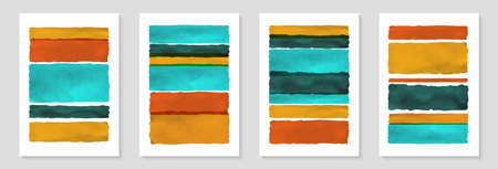 Creative minimalist hand painted Abstract art background with brush stroke watercolor stain line. Design for wall decoration, postcard, poster or brochure. Vectores