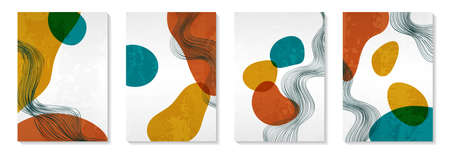 Creative minimalist hand painted Abstract art background with watercolor stain and Hand Drawn doodle Shape. Design for wall decoration, postcard, poster or brochure.