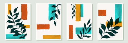 Set of creative minimalist hand draw illustrations black green leaves and vintage color simple geometric watercolor brushstroke shape for wall decoration, postcard or brochure cover design, poster.