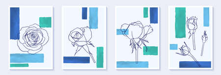 Set of creative minimalist hand draw illustrations flower rosse outline and blue color simple geometric watercolor brush stroke shape. design wall decoration, postcard, brochure cover design, poster. Vectores