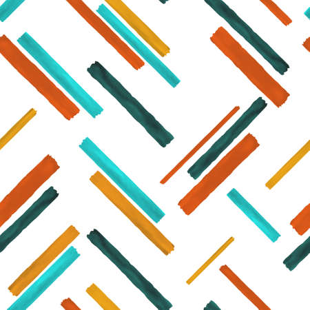 Beautiful seamless pattern with vintage color watercolor stripes. hand painted brush strokes, striped background. Vector illustration.