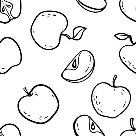 Beautiful black and white seamless doodle pattern with cute doodle apples sketch. Hand drawn trendy background. design background greeting cards, invitations, fabric and textile.